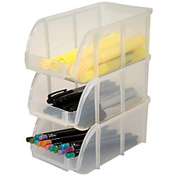 Clear Stacking Bins for Office Supplies