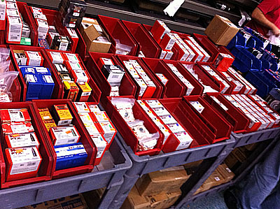 Plastic Bins in use at the Gun Show