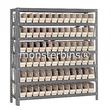 "Steel Shelving Unit - 7 Shelves - 72 Shelf Bins (12""x3""x4"")"