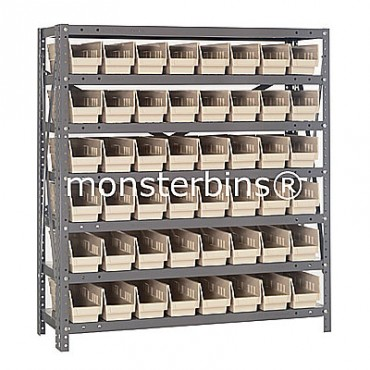 "Steel Shelving Unit - 7 Shelves - 48 Shelf Bins (12""x4""x4"")"