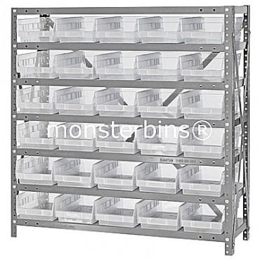 "Steel Shelving Unit - 7 Shelves - 30 Clear Shelf Bins (12""x6""x4"")"