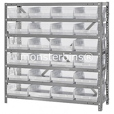 "Steel Shelving Unit - 7 Shelves - 24 Clear Shelf Bins (12""x8""x4"")"