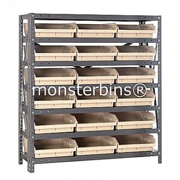 "Steel Shelving Unit - 7 Shelves - 18 Shelf Bins (12""x11""x4"")"