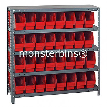 "Steel Shelving Unit - 5 Shelves - 32 Shelf Bins (12""x4""x6"")"