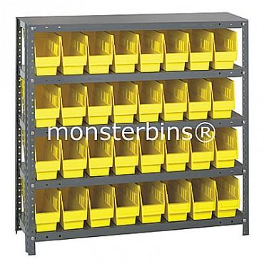 "Steel Shelving Unit - 5 Shelves - 32 Shelf Bins (12""x4""x6"")"