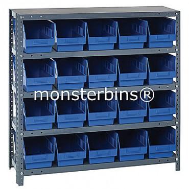 "Steel Shelving Unit - 5 Shelves - 20 Shelf Bins (12""x6""x6"")"
