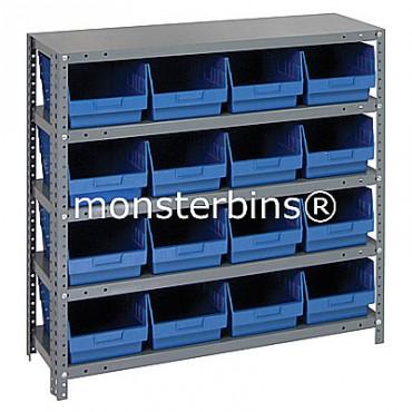"Steel Shelving Unit - 5 Shelves - 16 Shelf Bins (12""x8""x6"")"