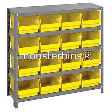 "Steel Shelving Unit - 5 Shelves - 16 Shelf Bins (12""x8""x6"")"