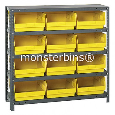 "Steel Shelving Unit - 5 Shelves - 12 Shelf Bins (12""x11""x6"")"