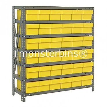 Steel Shelving Unit - 7 Shelves - 36 Euro Drawers (QED601)