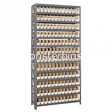 "Steel Shelving Unit - 13 Shelves - 144 Shelf Bins (12""x3""x4"")"