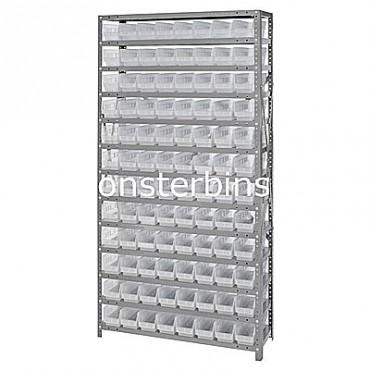 "Steel Shelving Unit - 13 Shelves - 96 Clear Shelf Bins (12""x4""x4"")"