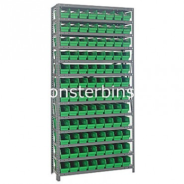 "Steel Shelving Unit - 13 Shelves - 96 Shelf Bins (12""x4""x4"")"