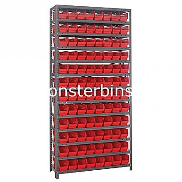 "Steel Shelving Unit - 13 Shelves - 96 Shelf Bins (12""x4""x4"")"