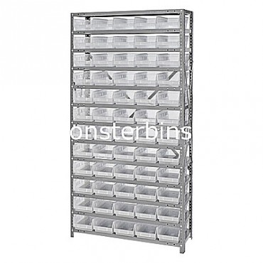 "Steel Shelving Unit - 13 Shelves - 60 Clear Shelf Bins (12""x6""x4"")"