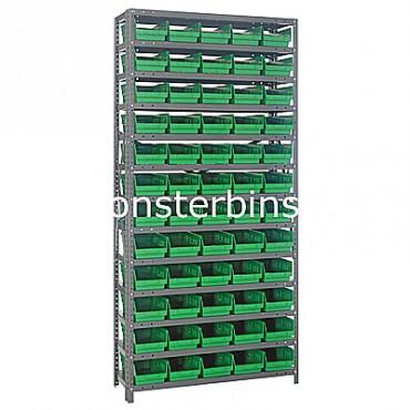 "Steel Shelving Unit - 13 Shelves - 60 Shelf Bins (12""x6""x4"")"