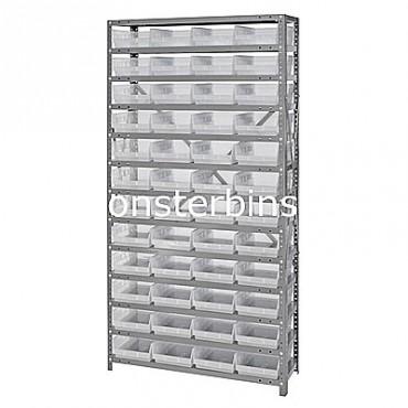 "Steel Shelving Unit - 13 Shelves - 48 Clear Shelf Bins (12""x8""x4"")"