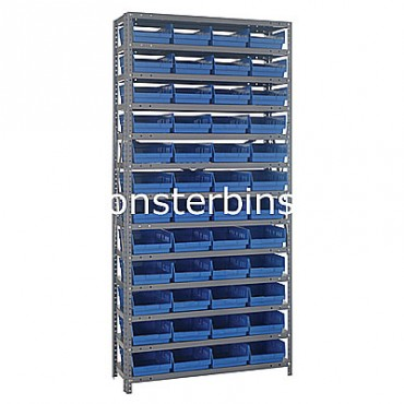 "Steel Shelving Unit - 13 Shelves - 48 Shelf Bins (12""x8""x4"")"