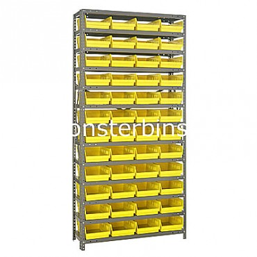 "Steel Shelving Unit - 13 Shelves - 48 Shelf Bins (12""x8""x4"")"