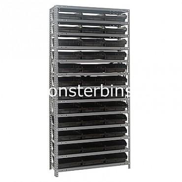 "Steel Shelving Unit - 13 Shelves - 36 Shelf Bins (12""x11""x4"")"