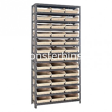 "Steel Shelving Unit - 13 Shelves - 36 Shelf Bins (12""x11""x4"")"