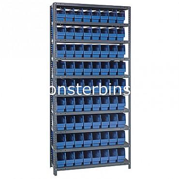 "Steel Shelving Unit - 10 Shelves - 72 Shelf Bins (12""x4""x6"")"
