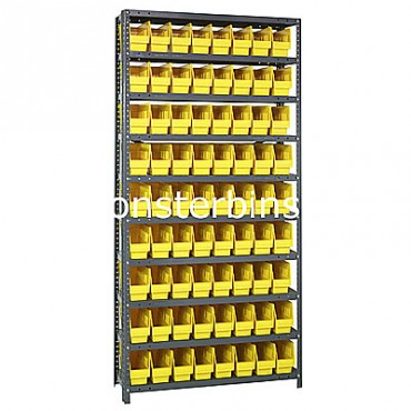 "Steel Shelving Unit - 10 Shelves - 72 Shelf Bins (12""x4""x6"")"