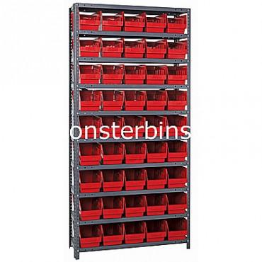 "Steel Shelving Unit - 10 Shelves - 45 Shelf Bins (12""x6""x6"")"