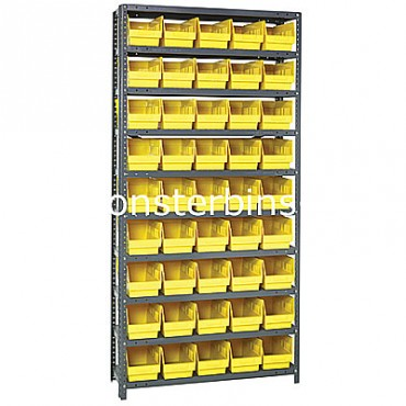 "Steel Shelving Unit - 10 Shelves - 45 Shelf Bins (12""x6""x6"")"