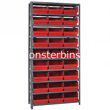 "Steel Shelving Unit - 10 Shelves - 27 Shelf Bins (12""x11""x6"")"