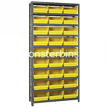 "Steel Shelving Unit - 10 Shelves - 27 Shelf Bins (12""x11""x6"")"