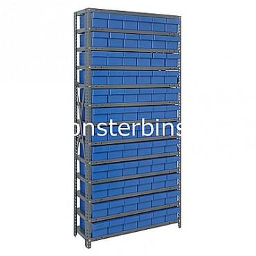Steel Shelving Unit - 13 Shelves - 72 Euro Drawers (QED601)