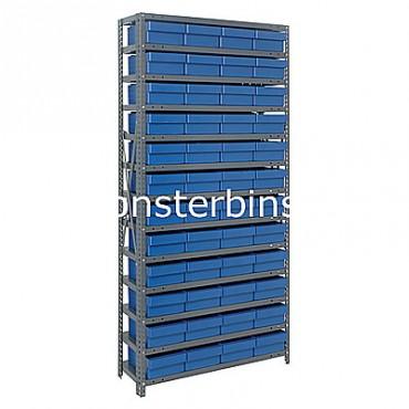 Steel Shelving Unit - 13 Shelves - 48 Euro Drawers (QED701)