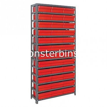 Steel Shelving Unit - 13 Shelves - 36 Euro Drawers (QED801)