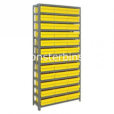 Steel Shelving Unit - 13 Shelves - 36 Euro Drawers (QED801)