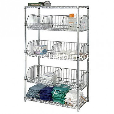 Wire Basket Shelving Unit - 2 Shelves, 3 Baskets - 24x36x63