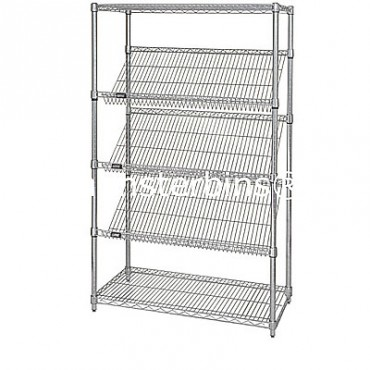 "Mobile Slanted Wire Shelving Unit - 63"" High - 5 Shelves - 18x48"