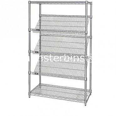 "Slanted Wire Shelving Unit - 63"" High - 5 Shelves - 18x48"