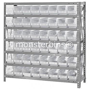 "Steel Shelving Unit - 7 Shelves - 48 Clear Shelf Bins (18""x4""x4"")"