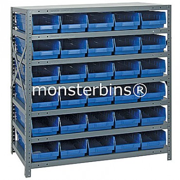 "Steel Shelving Unit - 7 Shelves - 30 Shelf Bins (18""x6""x4"")"