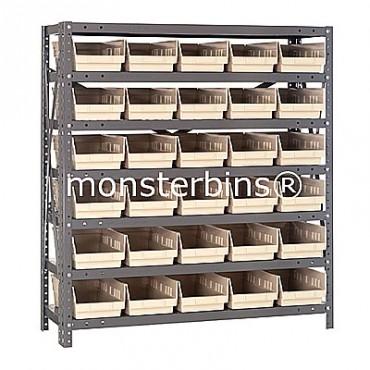 "Steel Shelving Unit - 7 Shelves - 30 Shelf Bins (18""x6""x4"")"