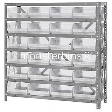 "Steel Shelving Unit - 7 Shelves - 24 Clear Shelf Bins (18""x8""x4"")"