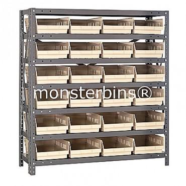 "Steel Shelving Unit - 7 Shelves - 24 Shelf Bins (18""x8""x4"")"