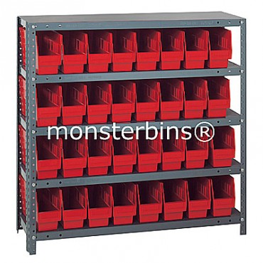 "Steel Shelving Unit - 5 Shelves - 32 Shelf Bins (18""x4""x6"")"