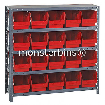 "Steel Shelving Unit - 5 Shelves - 20 Shelf Bins (18""x6""x6"")"