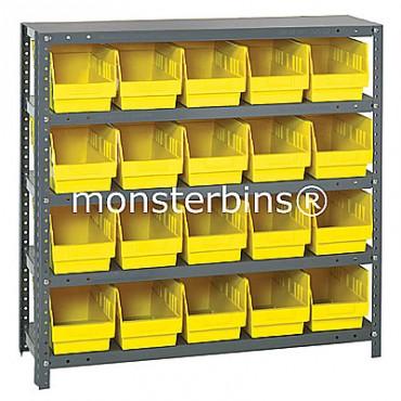 "Steel Shelving Unit - 5 Shelves - 20 Shelf Bins (18""x6""x6"")"