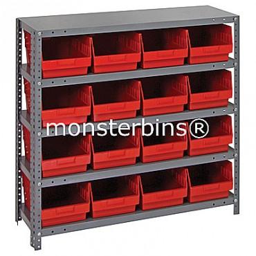 "Steel Shelving Unit - 5 Shelves - 16 Shelf Bins (18""x8""x6"")"