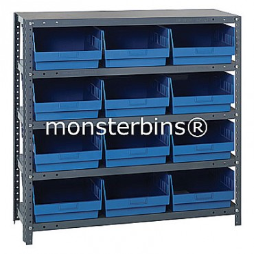 "Steel Shelving Unit - 5 Shelves - 12 Shelf Bins (18""x11""x6"")"