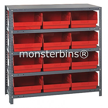 "Steel Shelving Unit - 5 Shelves - 12 Shelf Bins (18""x11""x6"")"