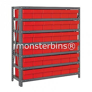 Steel Shelving Unit - 7 Shelves - 36 Euro Drawers (QED602)